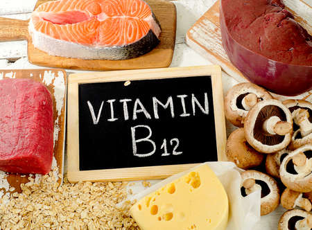 Sources of Vitamin B12 (Cobalamin). Healthy food. Top view
