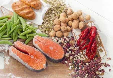 Alimenti più alti nella vitamina B1. Cibo salutare. Piatta piano