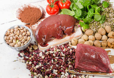 Foods containing iron. Healthy eating concept. View from above