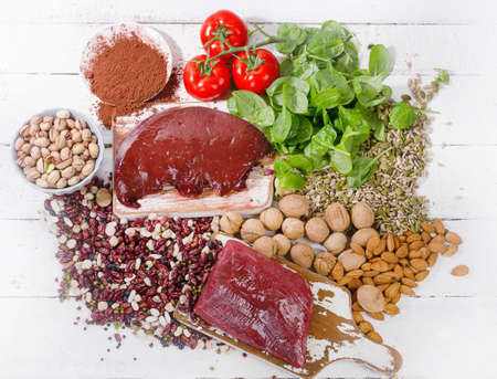 containing: Foods containing iron. Healthy eating concept.Top view
