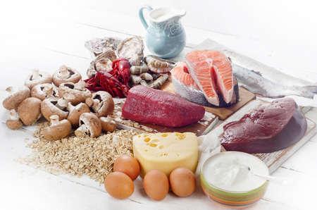 Foods of Vitamin B12 (Cobalamin). Healthy diet eating.