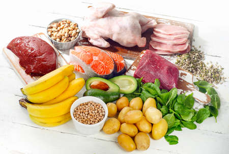 Natural products rich in vitamin B6. Healthy food concept. View from above