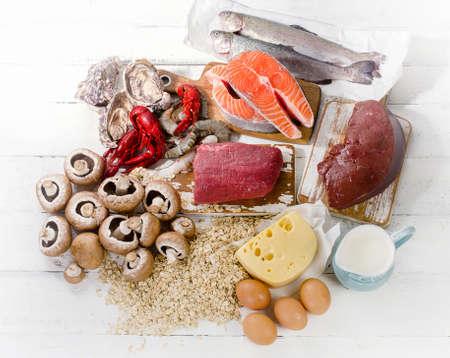Foods of Vitamin B12 (Cobalamin). Healthy eating. Top view