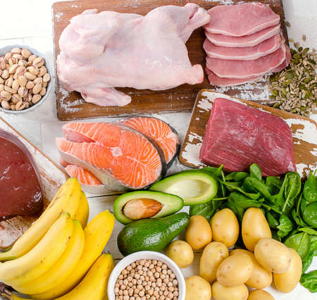 Natural products rich in vitamin B6. Healthy diet  eating  concept. Top view