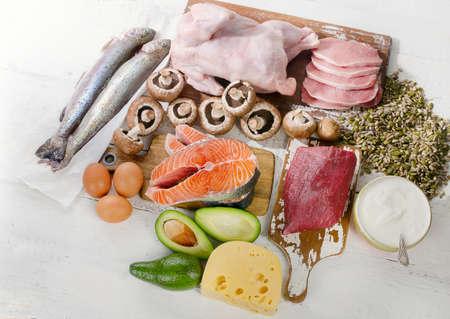 Foods Highest in Vitamin B5. Healthy food concept. Top view Stok Fotoğraf