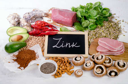 Foods Highest in Zink. View from above