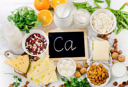 Group of products rich in calcium. Healthy food. Top view Stock Photo