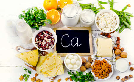Group of products rich in calcium. Healthy diet food. Top view Standard-Bild