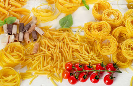 Variety of types dried pasta. Top view