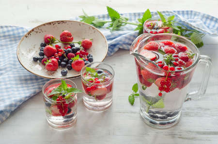 infused: Infused water with fresh berries. Stock Photo