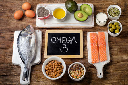 Food rich in omega 3 fatty acid and  healthy fats. Healthy eating concept Stockfoto