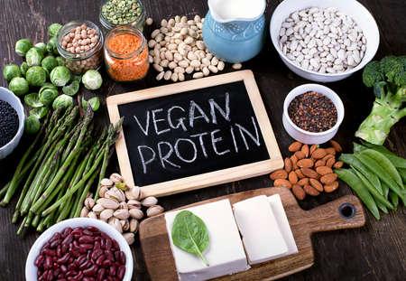 채식주의 자의 단백질 공급원. 건강한 채식 음식 개념