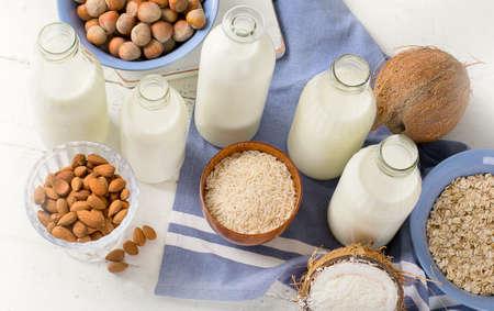Alternative types of milks. Vegan non-dairy milk.