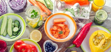 Juices, smoothies, fruits and vegetables. Healthy eating and vegetarian concept . Top view Stock Photo