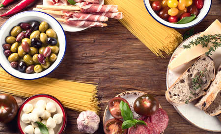 Italian food background. Healthy eating. Top view Stock Photo