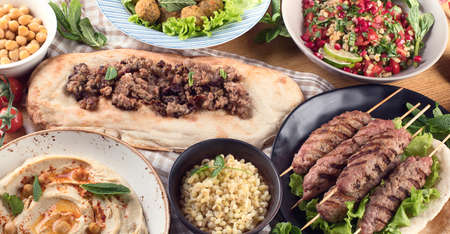 Traditional turkish cuisine. Top view. Middle Eastern food Stock Photo