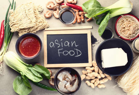 Asian food  ingredients.  Top view.  Chinese and  Thai cuisine.  Asian food concept.