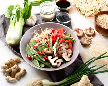 Ingredients ready asian food preparing. Asian cuisine concept.