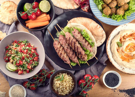 Lebanese food. Middle eastern traditional cuisine. Top view