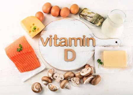 Pokarmy bogate w witaminę D. Widok z góry. Koncepcja zdrowego odżywiania Zdjęcie Seryjne