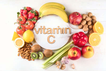 Vitamin C Rich Foods. Top view. Healthty eating concept 스톡 콘텐츠