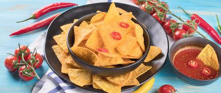 Mexican nachos. Corn chips.