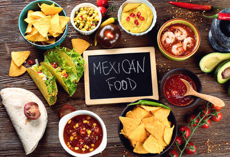 Mexican traditional food on wooden background. Top view Stock Photo