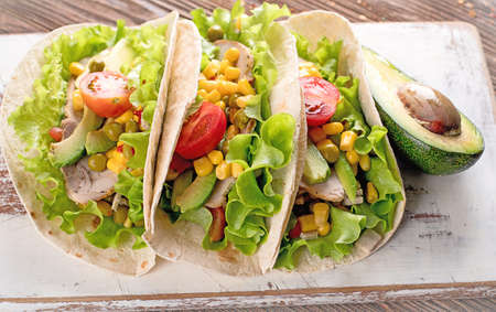 Authentic mexican tacos. Healthy food concept. Mexican food.