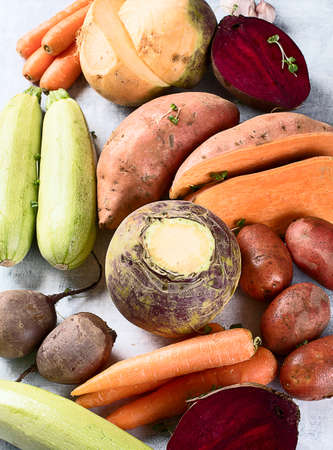 Fresh root vegetables. Root crops background. Healthy eating concept