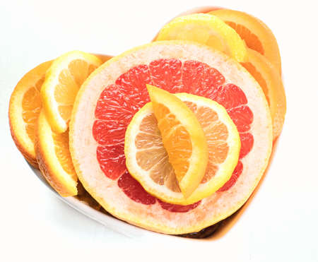Fresh fruits. Mixed citrus fruits. Healthy diet eating. Top view