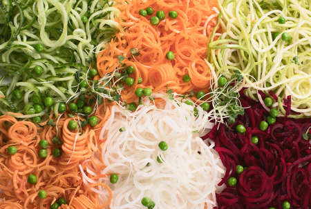 Vegetables noodles. Vegan diet food background. Top view.