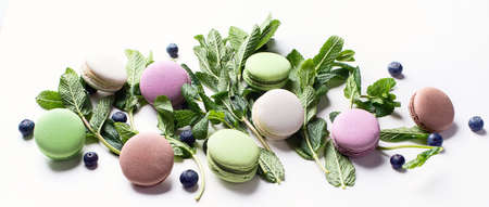 French colorful macarons. Top view.  Banner