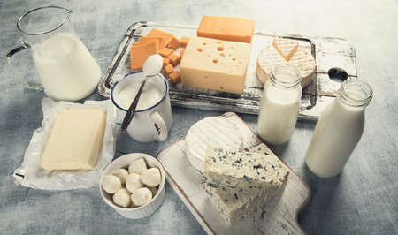 Different dairy products. View from above. Healthy food. Toned  Stock Photo