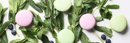 French dessert macarons. Top view.  Panorama Stock Photo