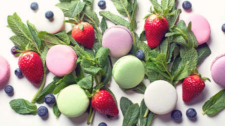 French colorful macarons. Top view.   Stock Photo