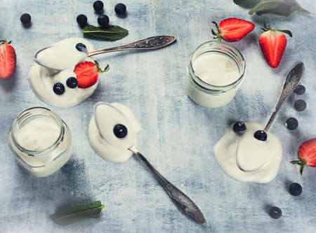 Yogurt with Berry Fruits for healthy Breakfast Stock Photo