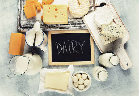 Different dairy products. View from above. Healthy food