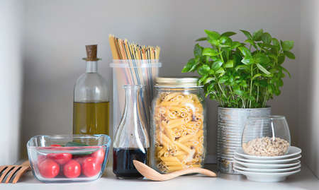 Kitchen pantry with italian food products. Healthy food concept. Stock Photo