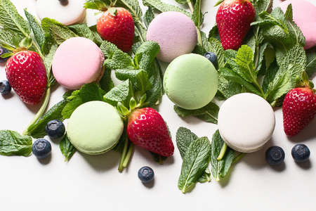 French macarons. Top view.   Stock Photo