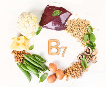 Foods rich in vitamin B7 (Biotin). Healthy eating concept. Top view