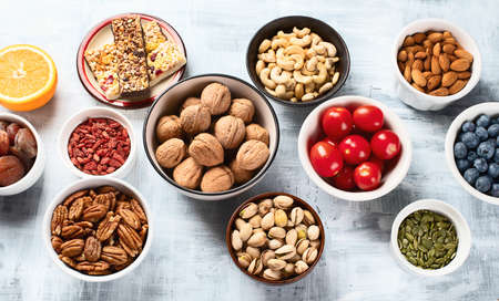 Healthy snacks. Top view. Healthy food concept Stock Photo