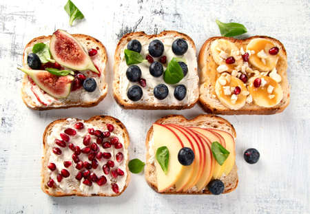 Healthy summer toasts for breakfast. Top view