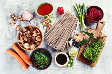 Asian food background. Asian vegetarian cooking ingredients. Top view