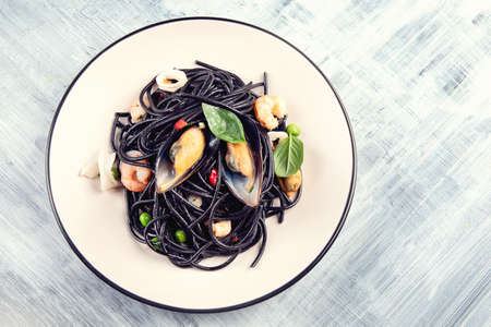 Italian pasta with seafood. Spaghetti Vongole