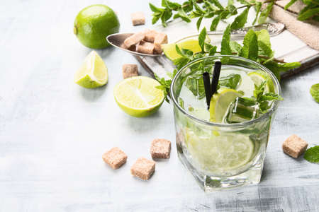 Mojito cocktail drink with lime and mint Stock Photo