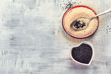 Black and white sesame. Top view Stock Photo