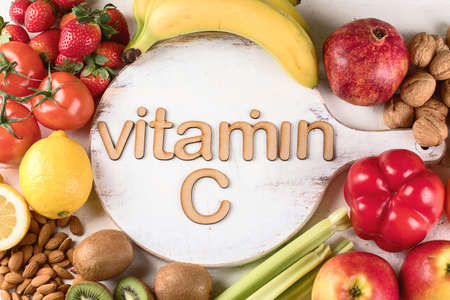 Vitamin C Rich Foods. Top view. Healthty eating concept Banque d'images