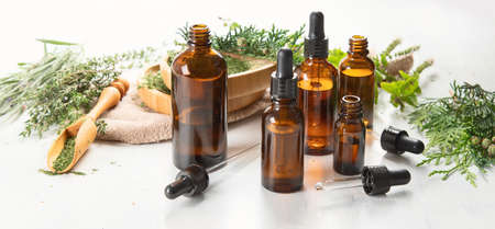 Bottles of essential oils. Herbal medicine. Aromatherapy.