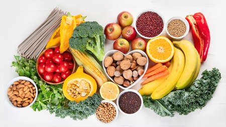 High Fiber Foods. Healthy balanced dieting concept. Top view Imagens