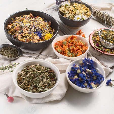 Various herbal tea. Top view.